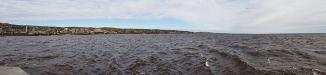 A panorama I took from the lighthouse in Canal Park, looking out over Superior and toward Duluth.