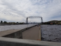 Looking toward the lift-bridge near Canal Park in Duluth